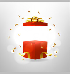 Opened red gift box with red bow and gold ribbon vector