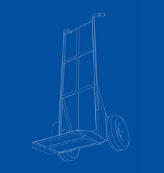 outline delivery trolley or hand truck vector image