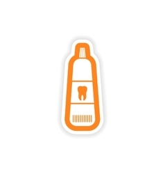 Paper sticker on white background tooth paste vector