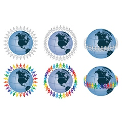 people around the globe vector image