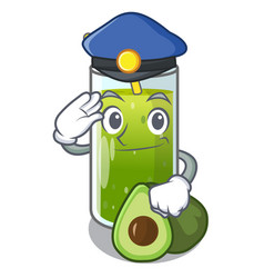 Police avocado smoothies in a mascot glass vector