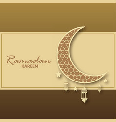 Ramadan kareem greeting card with islamic vector