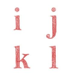 Red sketch font set - lowercase letters i j k l vector image