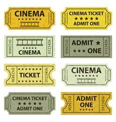 Retro cinema tickets vector image