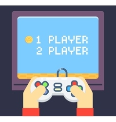 Retro Games Player Hands Joystick TV Monitor vector
