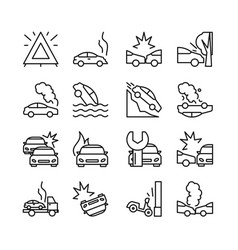 road accident icon set vector image