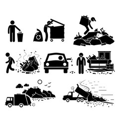 Rubbish trash garbage waste dump site stick vector