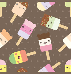 Seamless pattern cute kawaii styled ice cream vector