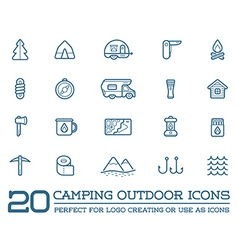 Set camping camp elements and outdoor activity vector