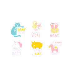 Set contour cute logos for bastore vector