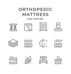 set line icons of orthopedic mattress vector image