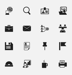 Set of 16 editable company icons includes symbols vector