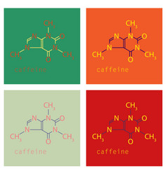 Set of caffeine molecule chemical structure vector