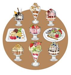 set of ice cream on white vector image