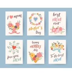 Set of vintage mothers day greeting card Mothers vector