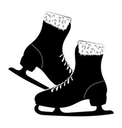 shoes for figure skating black white vector image