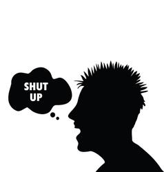 Shut up symbol with man had vector