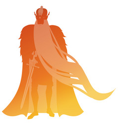 Silhouette man with crown and long beard cape vector