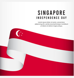 Singapore independence day celebration banner set vector