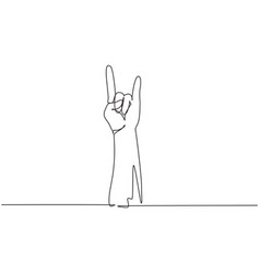 single one line drawing rock on gesture symbol vector image