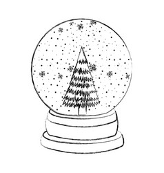 sketch draw christmas glass snow ball vector image