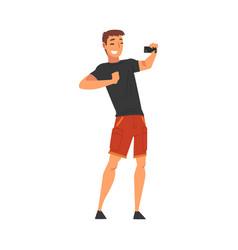 Smiling man wearing black tshirt and shorts taking vector
