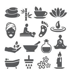 spa icons set on white background vector image