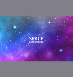 space background galaxy with nebula planet and vector image
