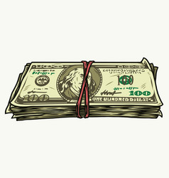 Stack one hundred dollar bills vector