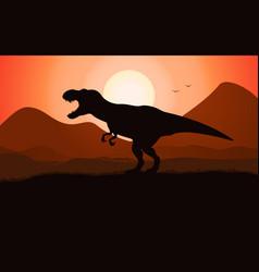 T-rex tyrannosaurus silhouette dinosaur vector