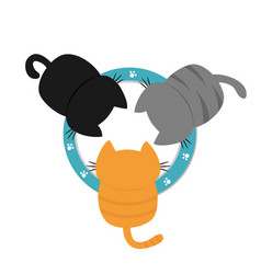 Three kittens drinking eating milk from bowl vector