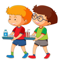 Two boys holding tray of food vector