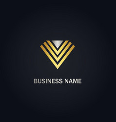 v initial line triangle gold logo vector image