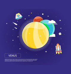 venus earth and mars of solar system design vector image