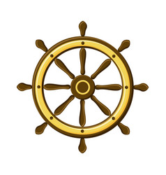 vintage ship wheel isolated on white background vector image