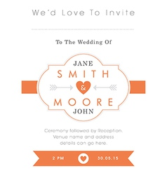Wedding invitation orange style vector