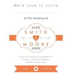 Wedding invitation orange style vector