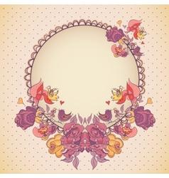 Wedding invitation with flowersbirds vector image