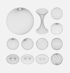 wireframe earth grid mesh objects set network vector image