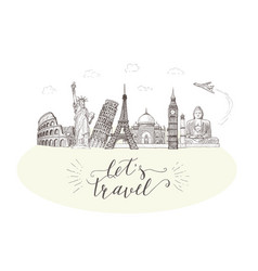 world travel and sights tourism banner with hand vector image