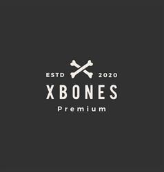 x bone dog food hipster vintage logo icon vector image