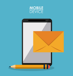blue poster mobile device with smartphone and mail vector image vector image