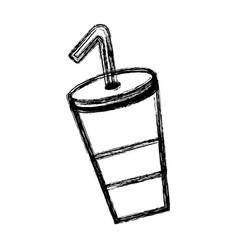 Contour delicious refreshing soda beverage vector