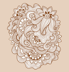 doodle floral drawinghenna tattoo flower template vector image vector image
