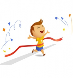 finishing runner with finished ribbon vector image vector image