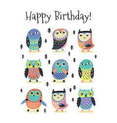 happy birthday card with cartoon colorful owls vector image vector image