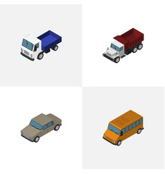 Isometric transport set of auto freight lorry vector