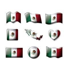 mexico 3d flags collection colorful silhouettes in vector image