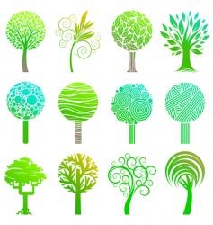set of trees emblem vector image vector image