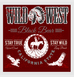 set of wild west american indian designed elements vector image vector image